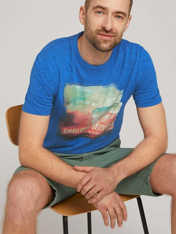 Gestreiftes T-Shirt mit Print - Männer - victory blue printed stripe - 5 - TOM TAILOR