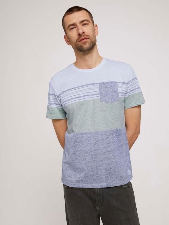 T-Shirt mit Streifenmuster - Männer - Sailor Blue - 5 - TOM TAILOR