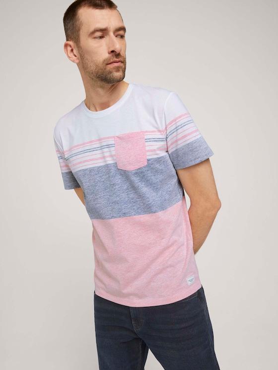T-Shirt mit Streifenmuster - Männer - Plain Red - 5 - TOM TAILOR