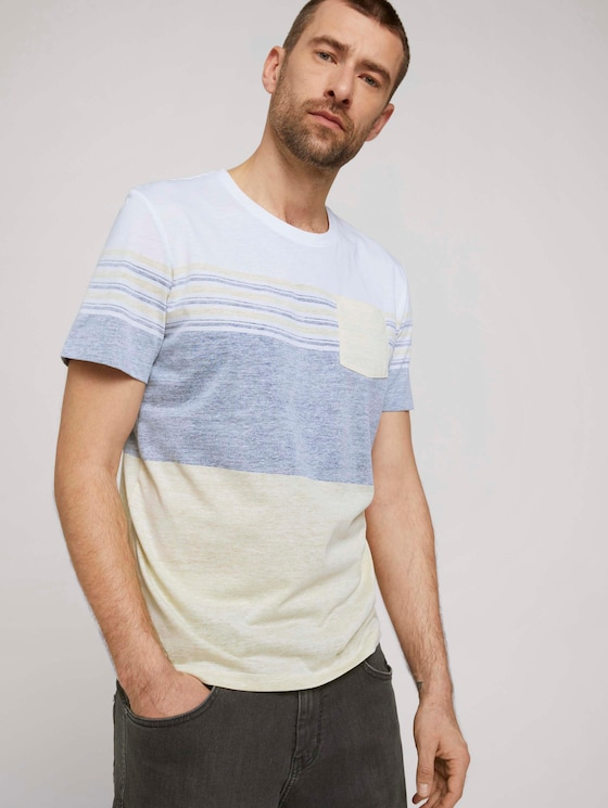 T-shirt met streepdessin - Mannen - pale straw yellow - 5 - TOM TAILOR