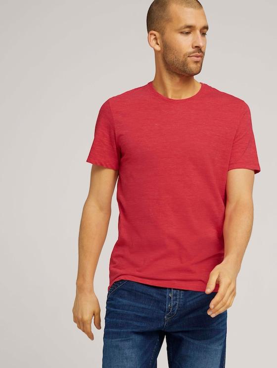 T-shirt in melange look - Mannen - plain red nep inject melange - 5 - TOM TAILOR