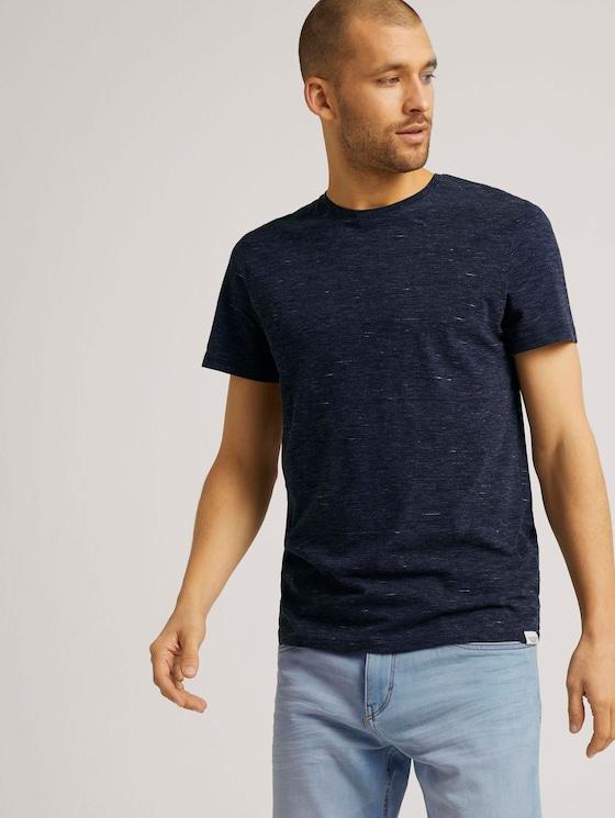 T-Shirt in Melange Optik - Männer - sailor blue nep inject melange - 5 - TOM TAILOR