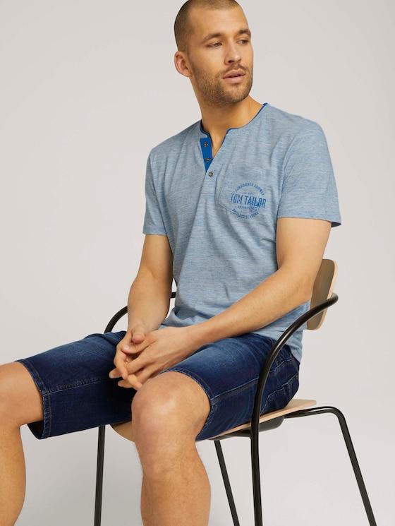 Henley T-shirt in melange look - Mannen - offwhite nep inject melange - 5 - TOM TAILOR