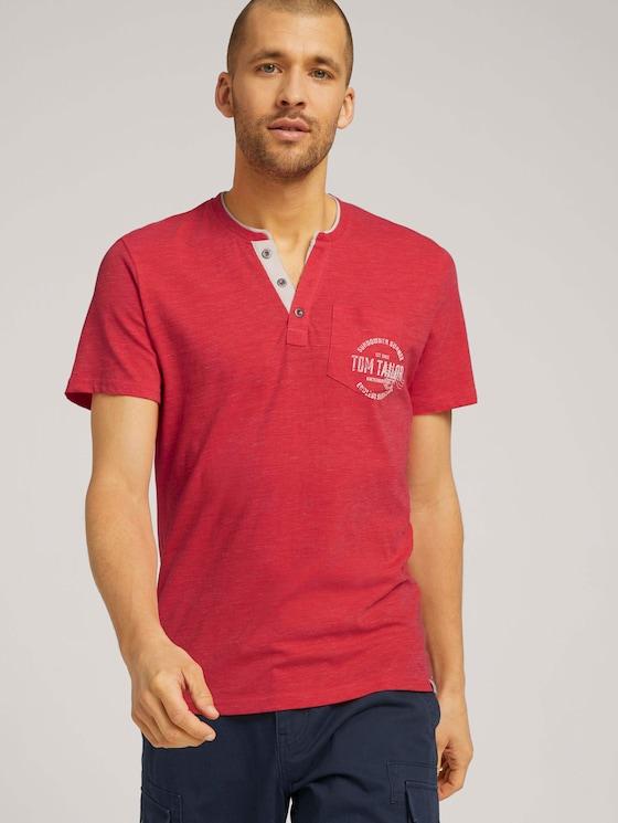 T-Shirt mit Streifenstruktur - Männer - plain red nep inject melange - 5 - TOM TAILOR