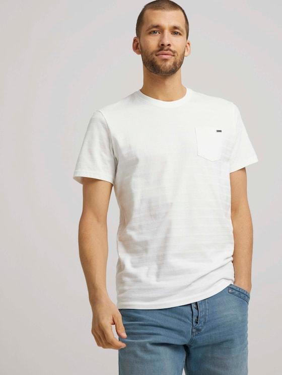 T-shirt met getextureerde strepen - Mannen - Off White - 5 - TOM TAILOR