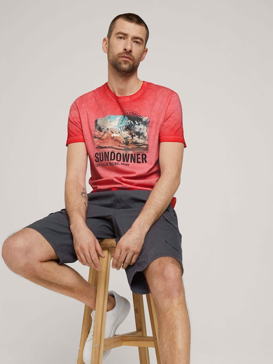 Used look T-shirt met print - Mannen - Plain Red - 5 - TOM TAILOR