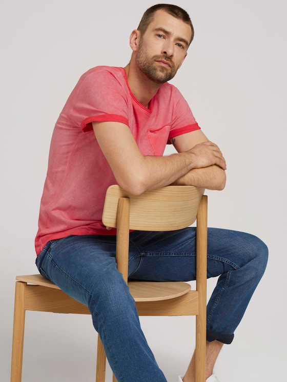 T-shirt in used look - Mannen - Plain Red - 5 - TOM TAILOR