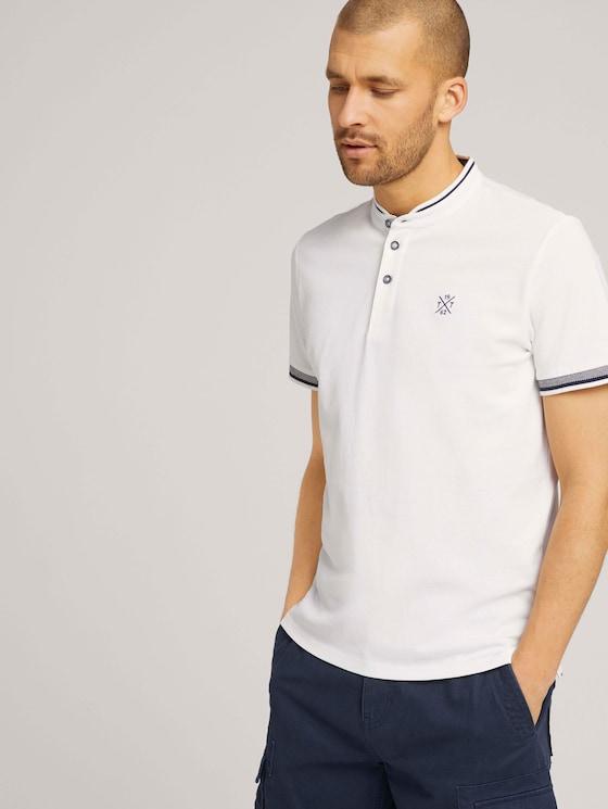 Poloshirt met opstaande kraag - Mannen - Off White - 5 - TOM TAILOR