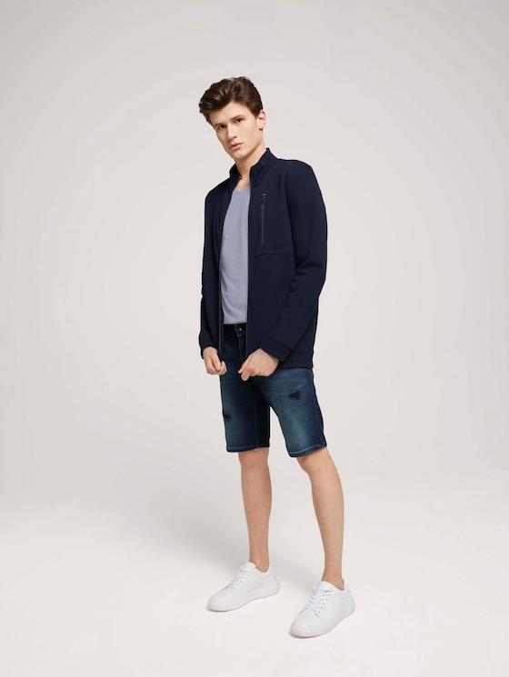 Regular Fit Jeans-Shorts - Männer - destroyed dark stone blue deni - 3 - TOM TAILOR Denim