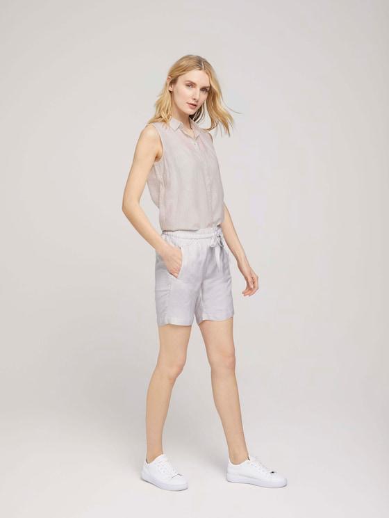 Loose Fit Bermuda Shorts mit Leinen - Frauen - offwhite thin stripe woven - 3 - TOM TAILOR