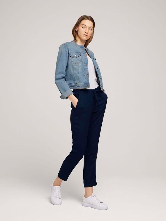Elastische Loose Fit Hose mit LENZING™ ECOVERO™ - Frauen - Sky Captain Blue - 3 - TOM TAILOR
