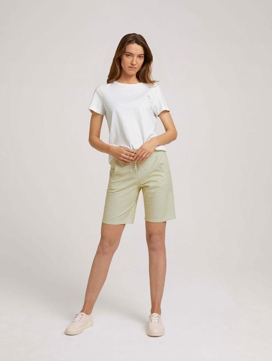Bermuda Shorts mit Kordelzug - Frauen - green tiny stripe - 3 - TOM TAILOR