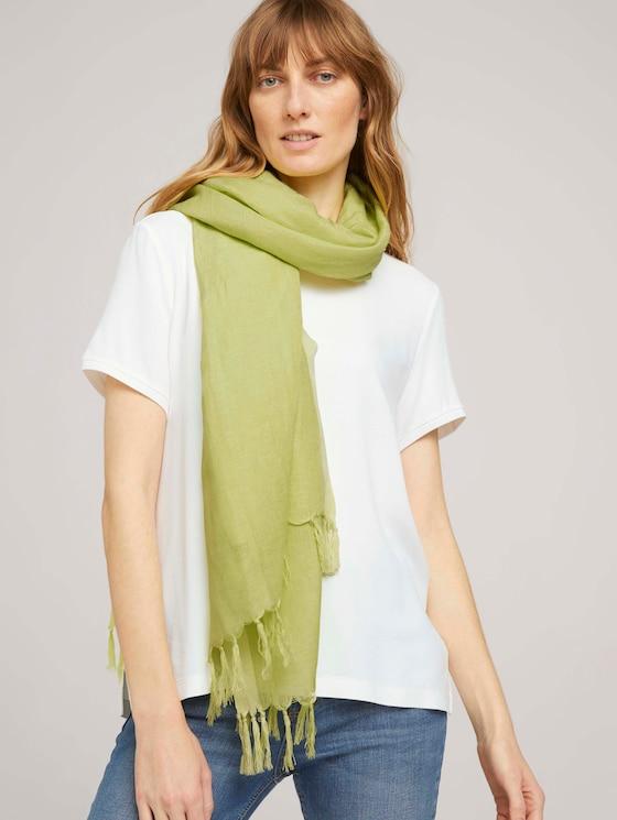 Leinen Schal mit Fransen - Frauen - celery ice - 5 - Tom Tailor E-Shop Kollektion