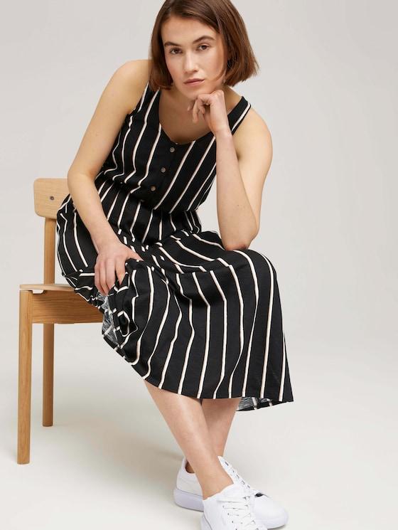 Sleeveless maxi dress with a button tab - Women - black beige vertical stripe - 5 - TOM TAILOR Denim