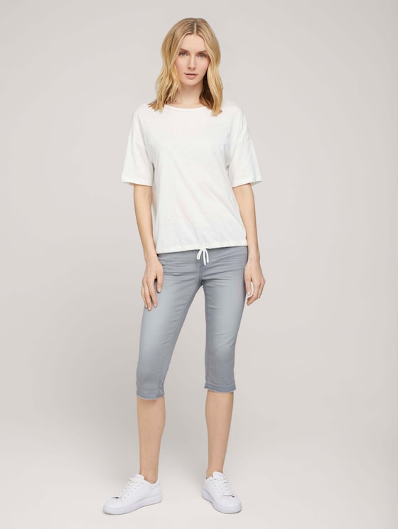 Alexa Slim Caprihose - Frauen - clean light stone grey denim - 3 - TOM TAILOR