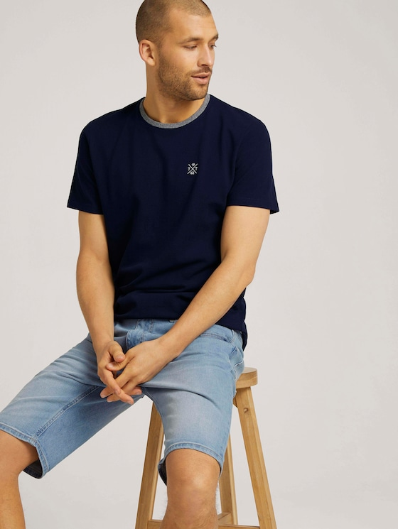 T-shirt with logo embroidery - Men - Sailor Blue - 5 - TOM TAILOR