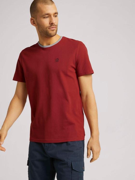 T-Shirt mit Logo Stickerei - Männer - chili oil red - 5 - TOM TAILOR