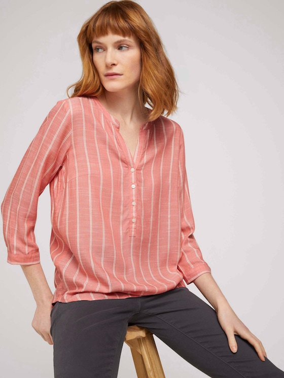 gestreifte Bluse mit halber Knopfleiste - Frauen - peach stripe vertical - 5 - TOM TAILOR