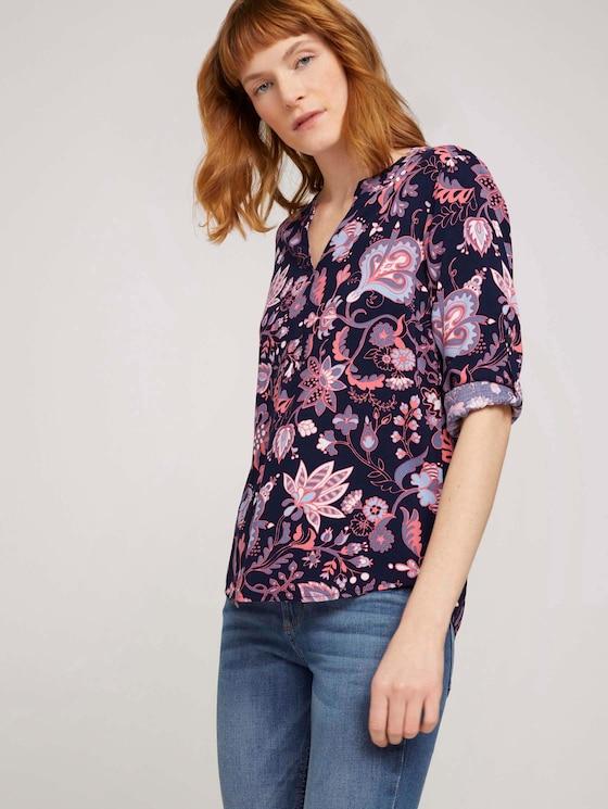 gemusterte Bluse mit Turn-Up Ärmeln - Frauen - navy paisley design - 5 - TOM TAILOR
