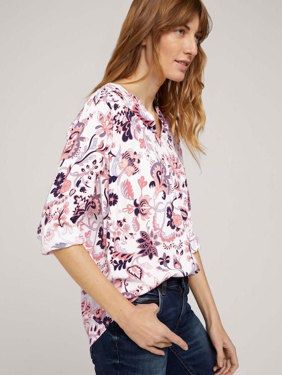 gemusterte Bluse mit Turn-Up Ärmeln - Frauen - cream paisley design - 5 - TOM TAILOR