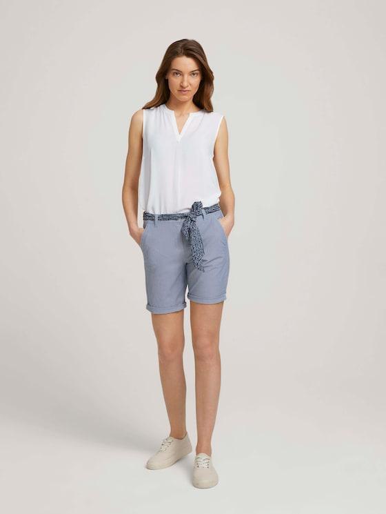 Relaxed Chino Bermuda Shorts - Vrouwen - navy thin stripe - 3 - TOM TAILOR