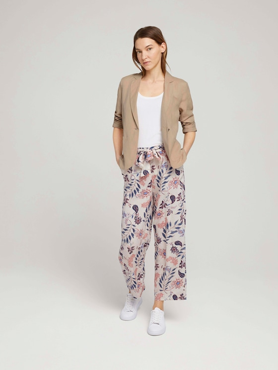 Flowing culotte trousers - Women - white floral design - 3 - TOM TAILOR