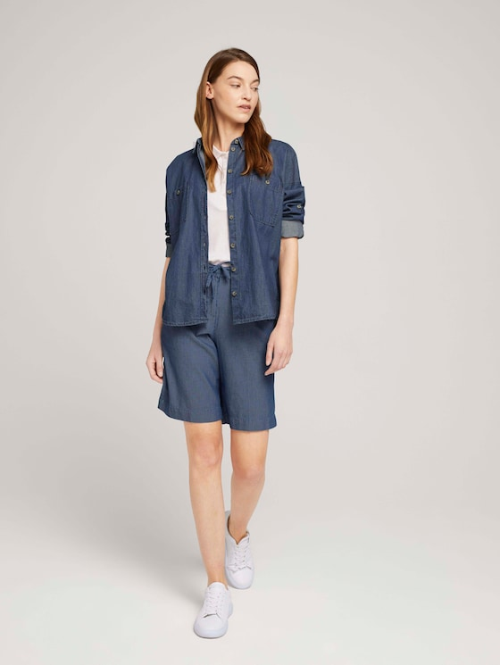 Gemusterte Lea Slim Bermuda Shorts - Frauen - blue thin stripes - 3 - TOM TAILOR