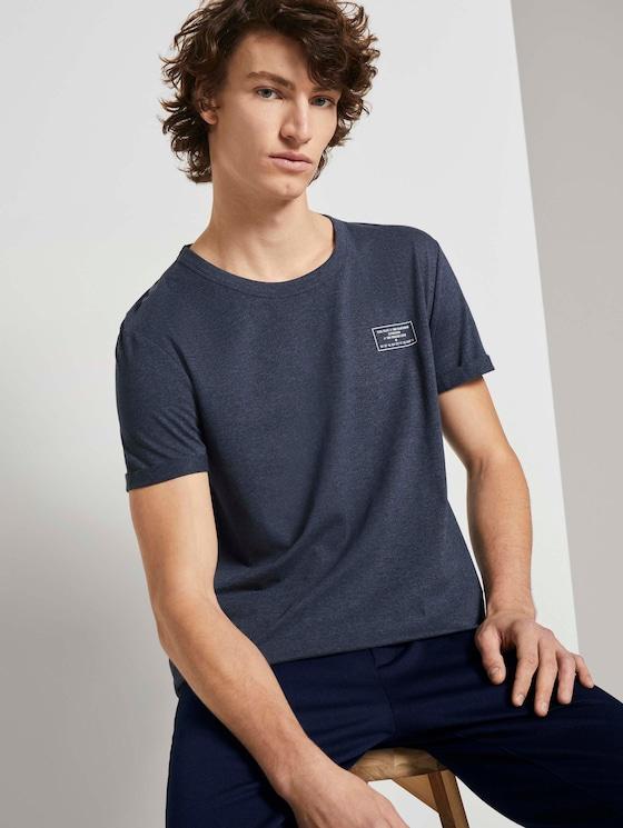 T-Shirt mit Ärmelaufschlag - Männer - Sky Captain Blue Non-Solid - 5 - TOM TAILOR Denim