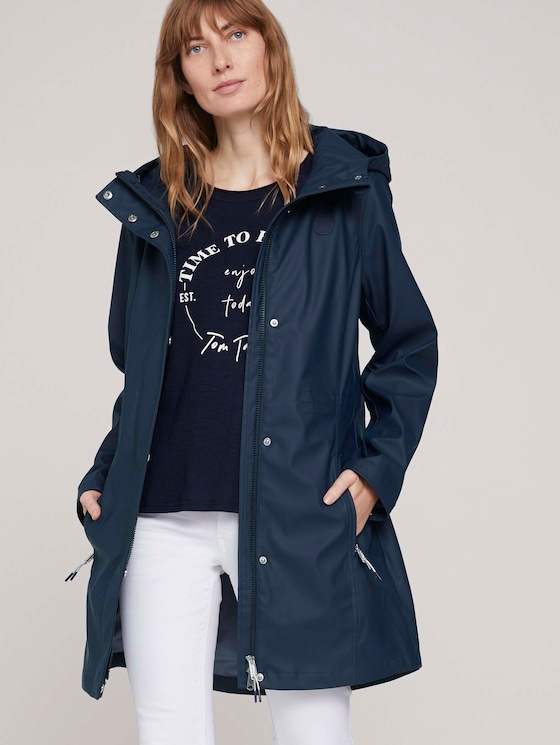 beschichtete Regenjacke mit Kapuze - Frauen - Sky Captain Blue - 5 - TOM TAILOR