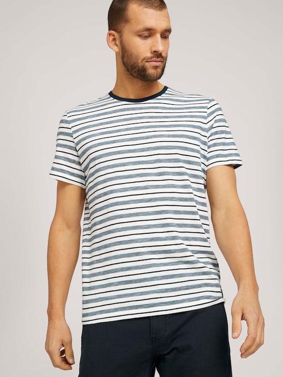 gestreiftes T-Shirt mit Rundhalsausschnitt - Männer - offwhite navy stripes - 5 - TOM TAILOR