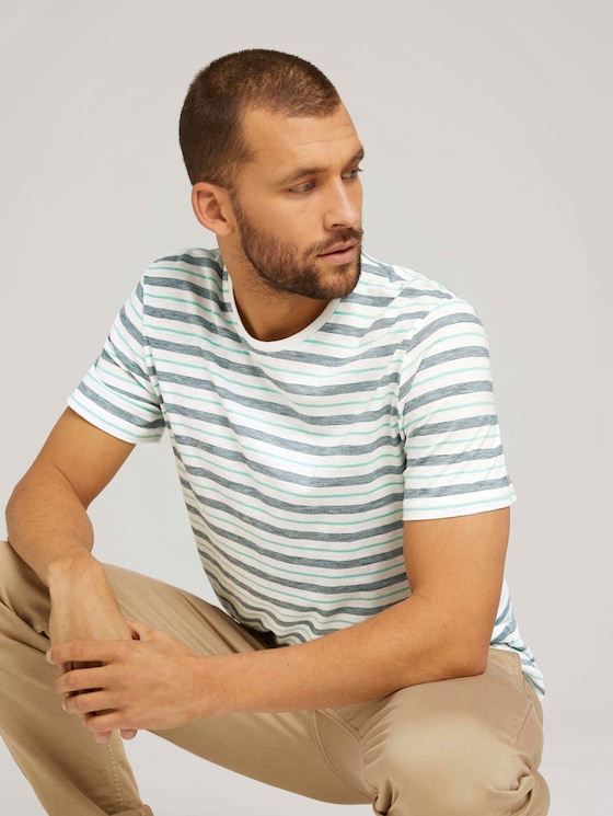 gestreiftes T-Shirt mit Rundhalsausschnitt - Männer - lucite green stripe - 5 - TOM TAILOR