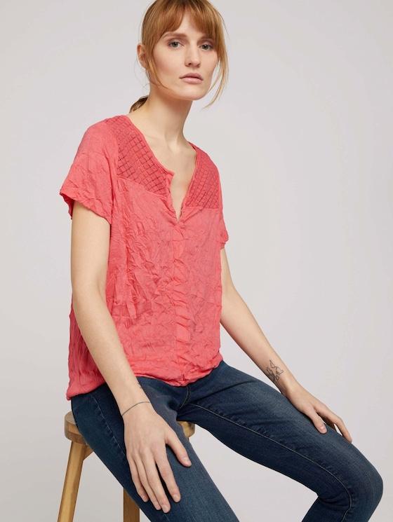 T-Shirt mit Spitzeneinsatz und elastischem Bund - Frauen - strong peach tone - 5 - TOM TAILOR