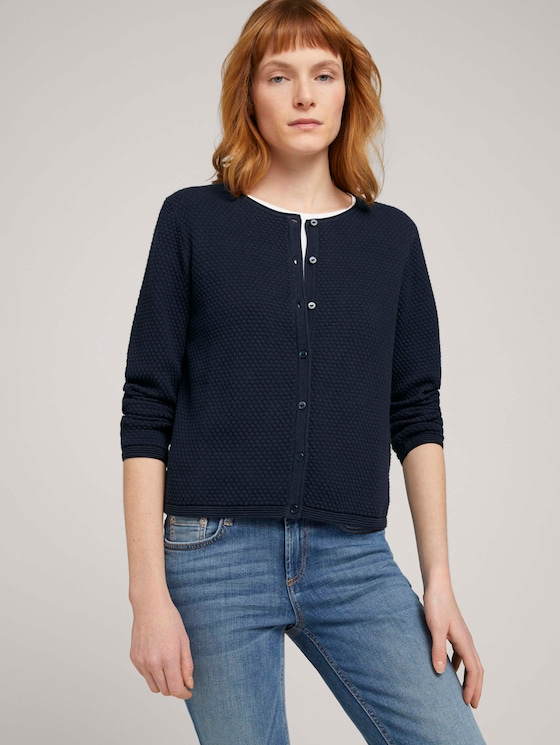 cardigan structured mit Bio-Baumwolle   - Frauen - Sky Captain Blue - 5 - TOM TAILOR