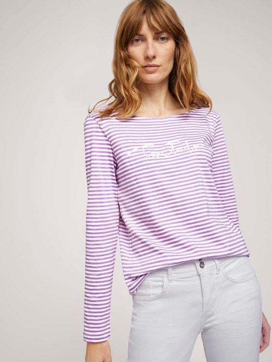 gestreiftes Langarmshirt mit Bio-Baumwolle  - Frauen - offwhite lilac bigger stripe - 5 - TOM TAILOR