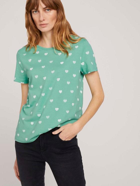 Gemustertes T-Shirt mit Bio-Baumwolle  - Frauen - green offwhite heart design - 5 - TOM TAILOR