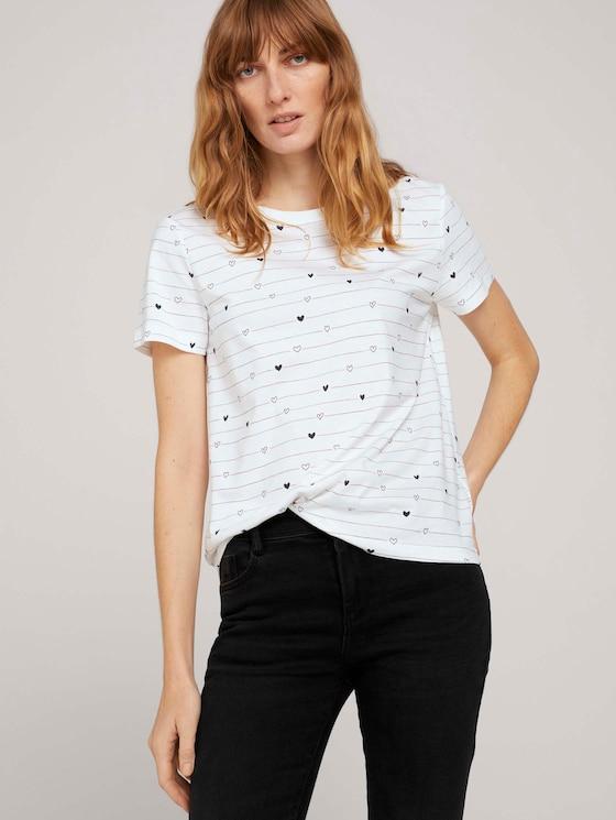 Gemustertes T-Shirt mit Bio-Baumwolle  - Frauen - offwhite heart line design - 5 - TOM TAILOR