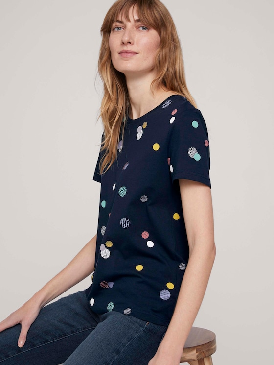 Gemustertes T-Shirt mit Bio-Baumwolle  - Frauen - navy colorful dot design - 5 - TOM TAILOR
