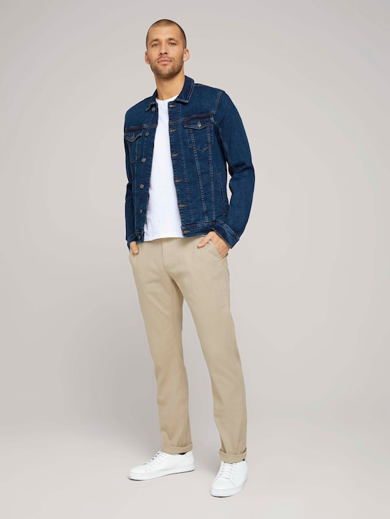 structure chino made with organic cotton  - Men - sandy dust beige - 3 - TOM TAILOR