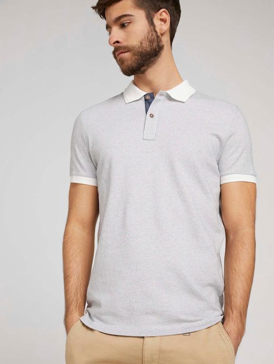 Poloshirt mit Birdseye-Muster - Männer - Off White - 5 - TOM TAILOR