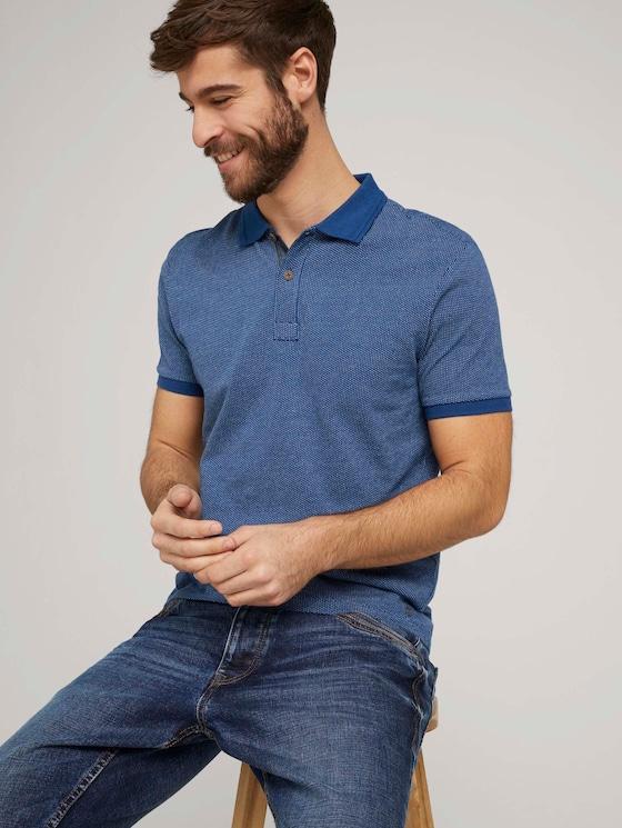 Poloshirt mit Birdseye-Muster - Männer - after dark blue - 5 - TOM TAILOR