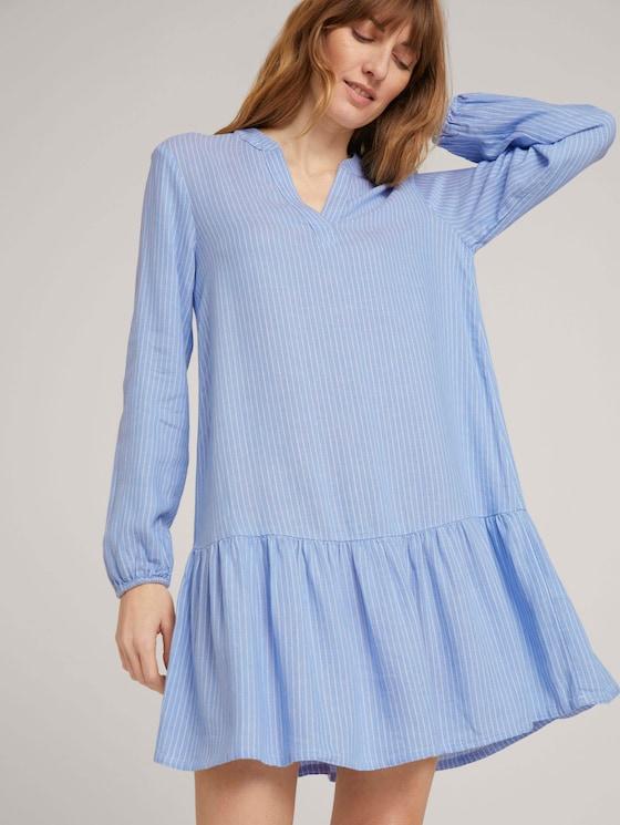 Gestreiftes Tunika Kleid mit Leinen - Frauen - blue white vertical stripe - 5 - TOM TAILOR