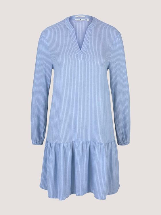 Gestreiftes Tunika Kleid mit Leinen - Frauen - blue white vertical stripe - 7 - TOM TAILOR