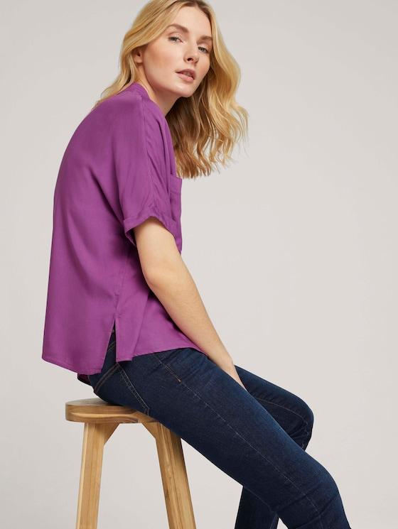 Lockere Kurzarmbluse mit Brusttaschen - Frauen - plum blossom lilac - 5 - TOM TAILOR