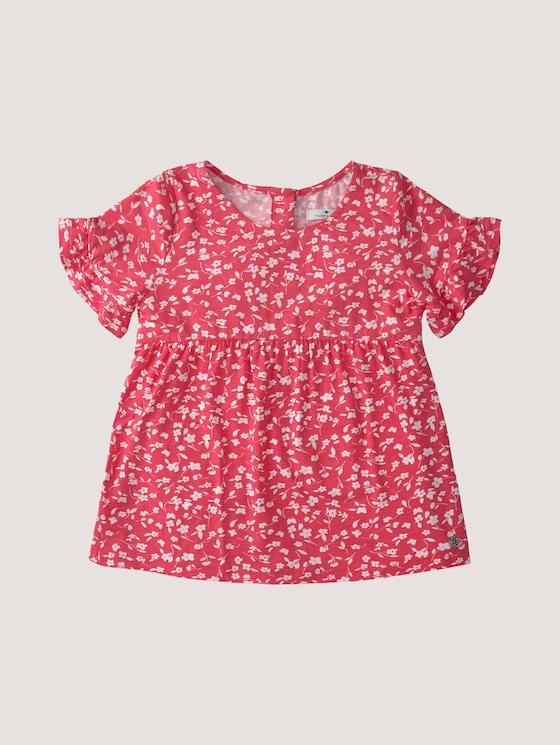 gemusterte Bluse - Mädchen - kids white pink flower design - 7 - Tom Tailor E-Shop Kollektion