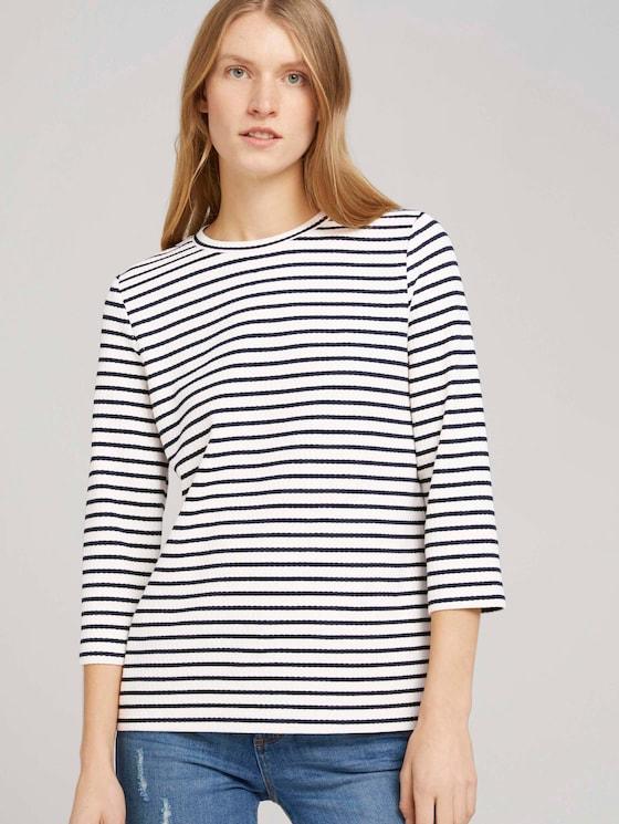 Gestreept shirt met 7/8 mouwen - Vrouwen - offwhite navy stripe - 5 - TOM TAILOR
