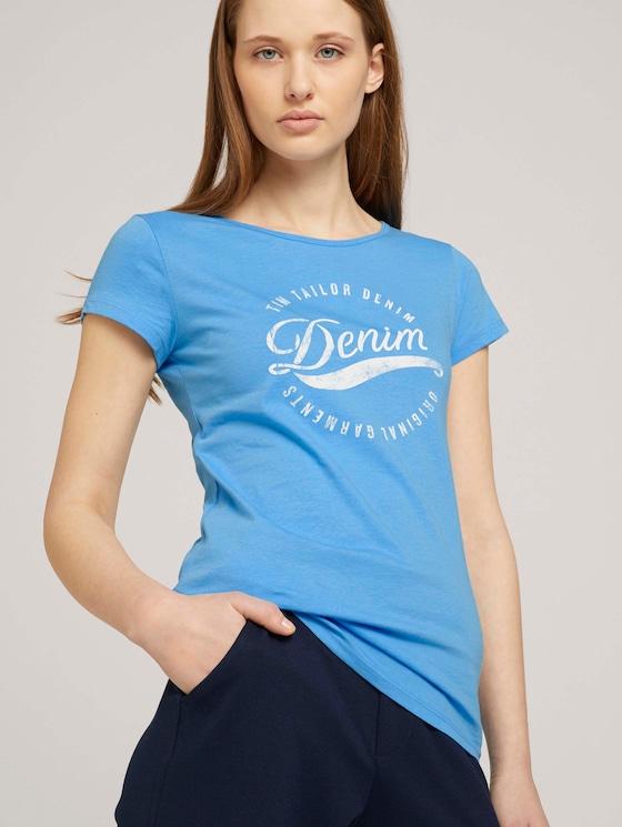 Tshirt mit Stickerei - Frauen - fresh mid blue - 5 - TOM TAILOR Denim