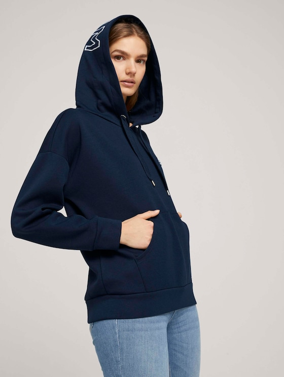 Hoodie mit Kapuzenprint - Frauen - Real Navy Blue - 5 - TOM TAILOR Denim