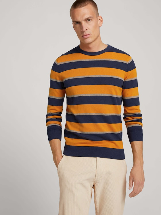 Striped knitted sweater - Men - beige navy block stripe - 5 - TOM TAILOR