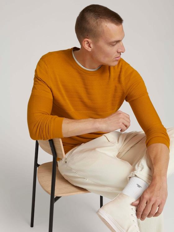 Gestructureerde trui van biologisch katoen - Mannen - Flame Brown - 5 - TOM TAILOR