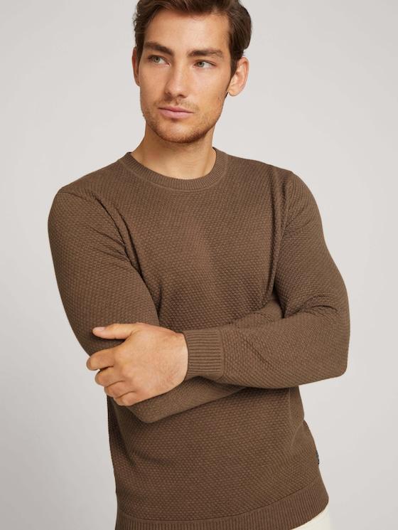 Textured sweater with organic cotton - Men - brown oak melange - 5 - TOM TAILOR